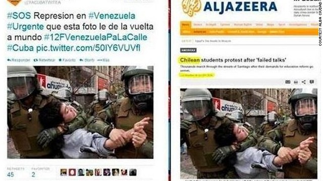 People sharing this photo say a Venezuelan student was put in a headlock by a national guardsman. The original photo reveals that this was from a student protest in Chile in October 2011.