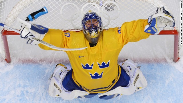 Swedish goaltender Henrik Lundqvist celebrates his team's win against Finland in the hockey semifinals on February 21.