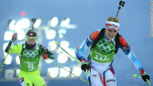 Slovakia's Paulina Fialkova, left, and the Czech Republic's Gabriela Soukalova compete in the women's biathlon relay on February 21.