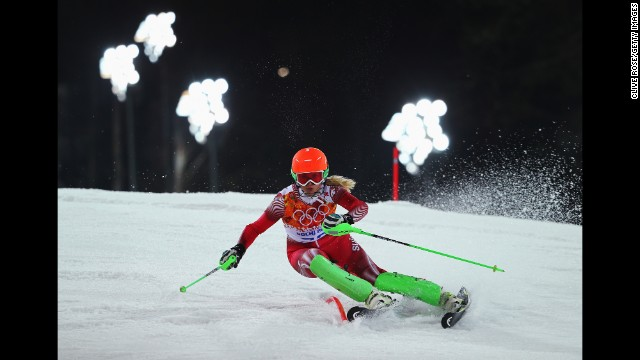 Denise Feierabend of Switzerland competes during the women's slalom on February 21.