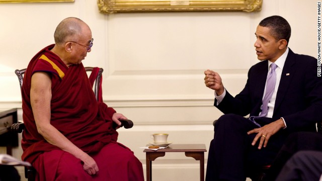 President Barack Obama meets with the Dalai Lama in the Map Room of the White House in February 2010. (Pete Souza/The White House/MCT)