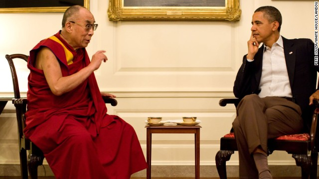 President Barack Obama meets with Dalai Lama in the Map Room of the White House in July 2011.<!-- --> </br>