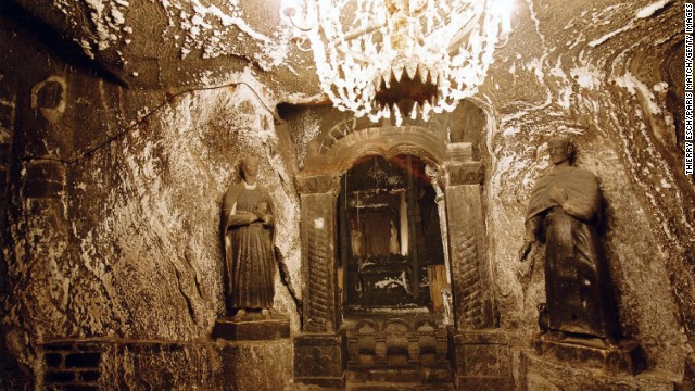 Workers mined for salt in the Wieliczka and Bochnia Salt Mines in Poland from the 13th to the 20th centuries and turned some of the excavated sections into workshops and chapels. St. Anthony's Chapel is shown here.