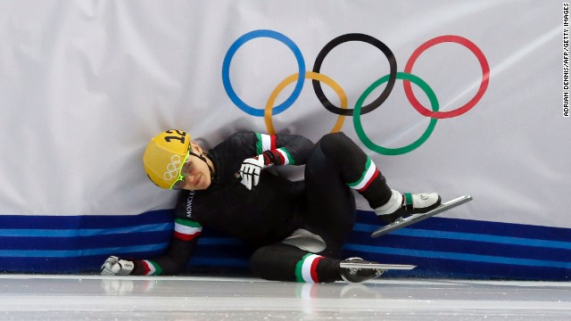 Italy's Arianna Fontana falls as she competes in a 1,000-meter short track speedskating race on February 21.