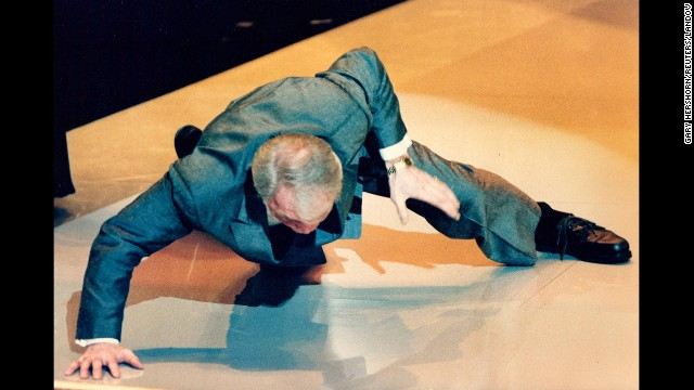 """When Jack Palance wins best supporting actor in 1992 for """"City Slickers"""" he thrills the crowd by dropping to the floor and performing one-handed push-ups <a href='http://www.youtube.com/watch?v=AGxL5AFzzMY' target='_blank'>during his acceptance speech.</a> Not bad for a septuagenarian."""