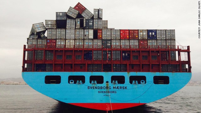 The Svendborg Maersk was struck by high wind and waves off the coast of France after it left the Bay of Biscay By the time it had reached the Spanish port of Malaga, more than 500 containers were unaccounted for.