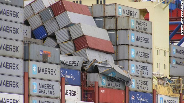 The ship started losing containers off the coast of northern France, where it was struck by 30-foot waves and winds of 60 knots.