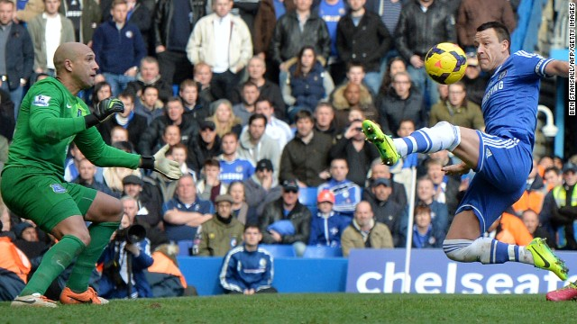 John Terry, right, netted past Tim Howard as Chelsea beat Everton 1-0 in the Premier League.