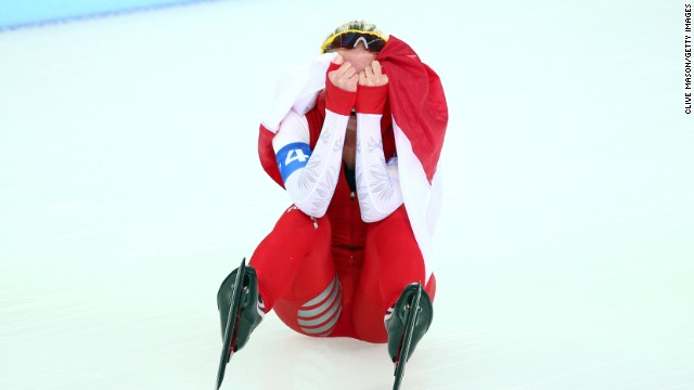 Luiza Zlotkowska reacts after Poland's silver medal finish in the ladies' team pursuit speed skating final on Saturday, February 22.