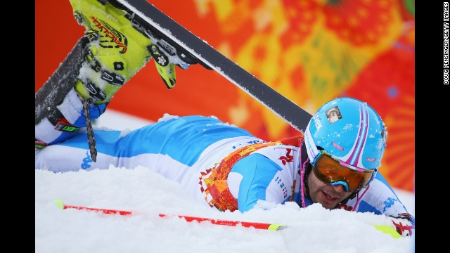 Patrick Thaler of Italy crashes out in the first run of the men's slalom on February 22.