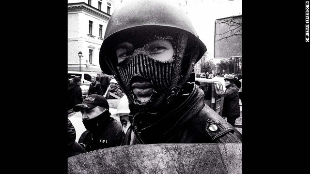 "KIEV, UKRAINE: ""Anti-government demonstrator in makeshift riot gear (February 22), a member of several protection units set up by the organizers of the occupation of Maidan Square."" - CNN's Christian Streib. Follow Christian on Instagram at instagram.com/christianstreibcnn."