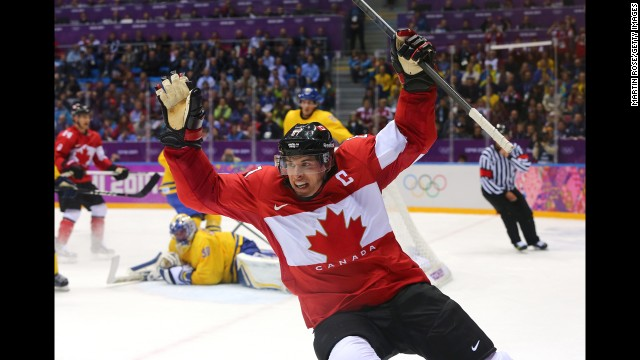 Sidney Crosby celebrates after scoring Canada's second goal during the men's ice hockey gold medal match against Sweden on Sunday, February 23. Most of us know the Winter Olympics through the power of television, as a spectacle in constant motion. Seeing the Games through still photography is a different experience altogether. Here's a look at the most compelling images from the word's best photographers at Sochi 2014. | More photos: Falling down in Sochi