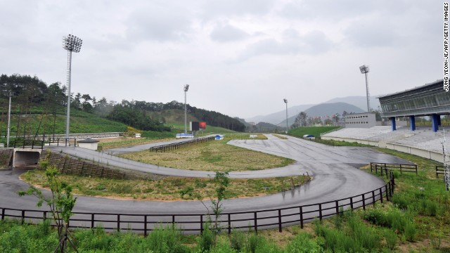 General view shows the biathlon arena in South Korea's mountain resort of Pyeongchang.