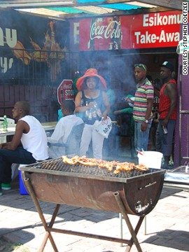 Best thing about braais? Their anytime, anywhere utility. This one's in Gugulethu in Cape Town.