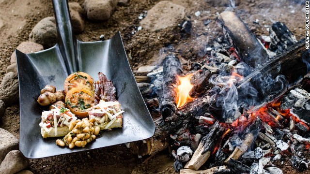"""One challenge on """"The Ultimate Braai Master"""" had contestants cook and serve a meal on a metal shovel."""
