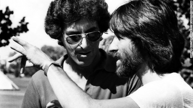 "Ramis, left, and executive producer Jon Peters appear on the set of the 1980 film ""Caddyshack,"" which Ramis directed and co-wrote."