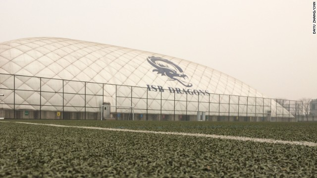 The International School of Beijing has erected a huge dome to allow kids space to roam and breathe.