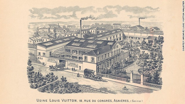 In order to meet the growing demand for his trunks, Louis Vuitton opened a new workshop in Asnières, northwest of Paris in 1859. The factory, seen here on the back of the 1897 Vuitton catalog, was designed using the most modern architectural developments of the time.