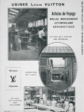 This advertising leaflet for Louis Vuitton from 1910 shows the interior of the factory, and is a world away from the brand's glossy and elaborate ads found in high-end magazine today. CEO Bernard Arnault says that Vuitton always relied primarily on quality, not marketing, to sell its products.