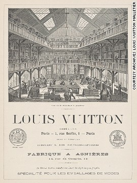 "This print shows the interior of the Louis Vuitton factory in Asnières, and also displays the bronze medal awarded for his participation at the International Exposition of Paris in 1867. The print also carries an advertising slogan: ""La Maison Vuitton packs the most fragile objects with safety."""