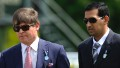CHICHESTER, ENGLAND - MAY 19: Godolphin racing manager Simon Crisford (L) and trainer Mahmood Al Zarooni at tend Goodwood racecourse on May 19, 2010 in Chichester, England (Photo by Alan Crowhurst/ Getty Images)