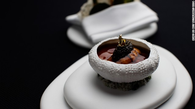 Modern, imaginative and fundamentally French food. Sea urchin in lobster jelly, with cauliflower, caviar and crispy seafood waffle is one of executive chef Richard Ekkebus' signature dishes.