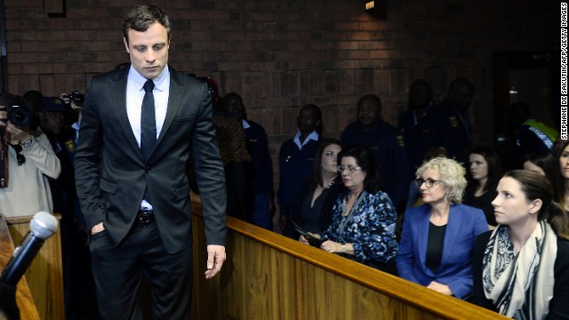 South African sprinter <a href='http://www.cnn.com/2013/02/19/world/africa/south-africa-pistorius-case/index.html'>Oscar Pistorius</a>, seen here in August, is accused of murdering his girlfriend, model Reeva Steenkamp, on February 14, 2013. Pistorius became the first amputee to compete in the able-bodied Olympics when he ran for South Africa in London 2012.