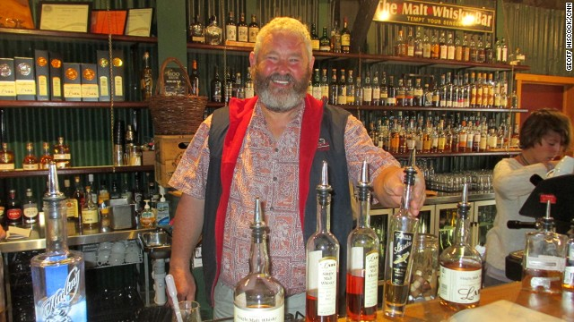 At Lark Distillery in Hobart, tour manager Mark Nicholson says the secret to good whiskey comes from the human palate, not a computer running a machine.
