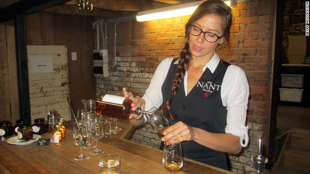The <a href='http://www.gourmettasmania.com.au/places/category/whisky/' target='_blank'>Tasmanian Whisky Trail</a> brings visitors to the Nant Distillery tasting counter.