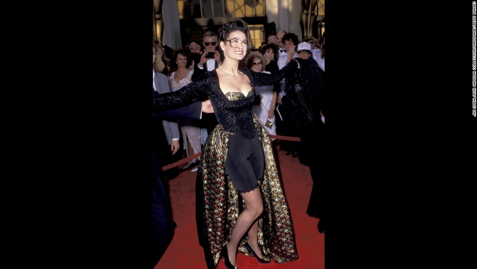 Part of the fun of the Academy Awards is watching the red carpet. Nearly every year, you have a star <a href='http://www.cnn.com/2014/02/26/showbiz/gallery/best-oscars-dresses/index.html?hpt=hp_c4' target='_blank'>who stands out in an amazing dress</a> ... and then you have those who either forgot they were attending Hollywood's biggest night or just didn't care. This is a list dedicated to those fashion foibles. Example No. 1 is Demi Moore at the 1989 Oscars. She arrived looking like she couldn't decide between being in a ball gown or a <a href='http://www.youtube.com/watch?v=2rH80nNixmE' target='_blank'>Milli Vanilli music video</a> so she just split the difference.