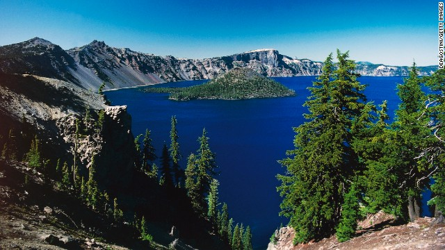 <strong>Deepest lake in the U.S.:</strong> Crater Lake, Oregon. The dazzling body of water is nearly 2,000 feet deep.