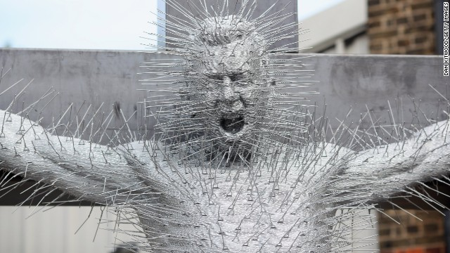 "His work has proved varied, such as ""Die Harder,"" which depicts Jesus' crucifixion and is made entirely of metal coat hangers."