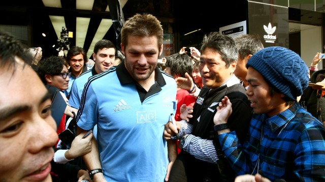 Also in 2013, the all-conquering All Blacks visited Japan for a full international, with New Zealand captain Richie McCaw being mobbed by fans.