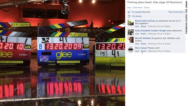 "Crew members from the TV show ""Glee"" shared messages of ""RIP Sarah Jones."""