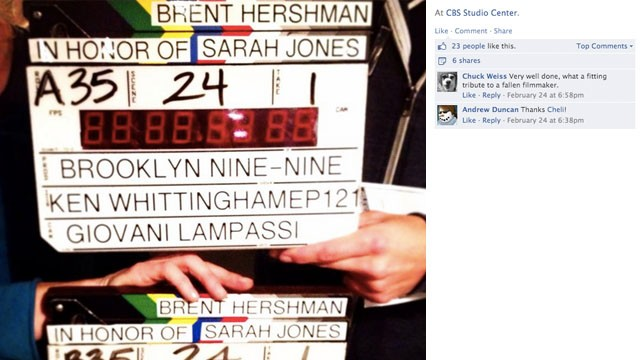 "Crew members from ""Brooklyn Nine-Nine"" paused to remember Jones, as well as <a href='http://articles.latimes.com/1997-04-16/entertainment/ca-49080_1_time-limits' target='_blank'>Brent Hershman</a>. Hershman was a crew member who died in 1997 when he fell asleep at the wheel and crashed his car after a 19-hour day. His death spawned a large conversation about working hours and workplace safety."