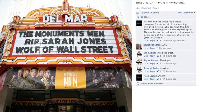 The Del Mar Theater in Santa Cruz, California, changed its marquee in honor of Jones.