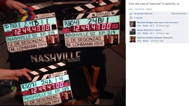 "Crew members from the set of the TV show ""Nashville"" honor Jones. One of her duties as a camera assistant was to mark shots with a camera slate."