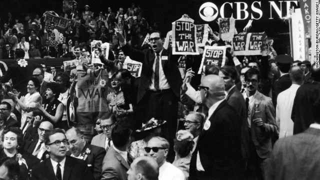 Members of the New York delegation protest the Vietnam War at the 1968 Democratic National Convention, which was held in Chicago. Chicago is a popular city for national political conventions, having hosted more than two dozen in its history. But the city was not quite prepared for the mayhem in 1968, despite a contingent of federal troops to help keep the peace.