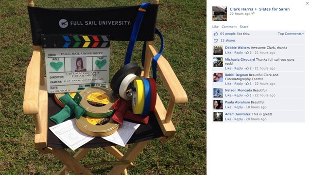 The cinematography department at Full Sail University shared this tribute for Jones on Tuesday. The colorful tape is standard issue on film sets.