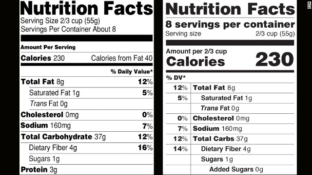 <strong>February 27, 2014: </strong>The Food and Drug Administration announces proposed changes to nutrition labels, the first overhaul in more than 20 years. The new label, right, would emphasize calories and added sugars.