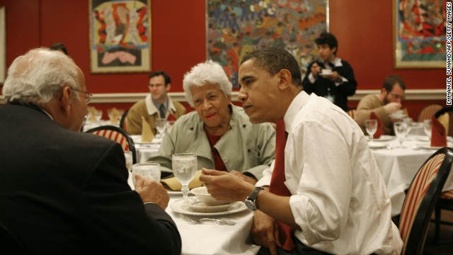 Then-presidential candidate and Illinois Sen. Barack Obama ate gumbo with restaurant owner Leah Chase during his visit to Dooky Chase's Restaurant on February 7, 2008.