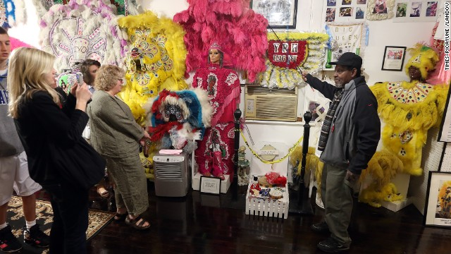 It's the mission of Sylvester Francis, right, to teach about the culture of the Mardi Gras Indians at the Backstreet Cultural Museum in Treme.