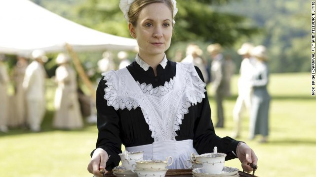 Servants' clothes do vary by occasion and time of day. Here Anna is dressed for an afternoon garden party in a more elaborate apron and cap than she would usually wear.
