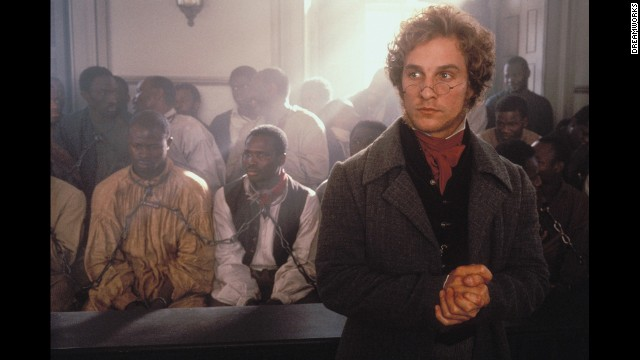 "Actor Matthew McConaughey is heavily favored to win the best actor Oscar on Sunday for his role in ""Dallas Buyers Club."" Here is a look at McConaughey's career, starting with the 1997 film ""Amistad,"" pictured."