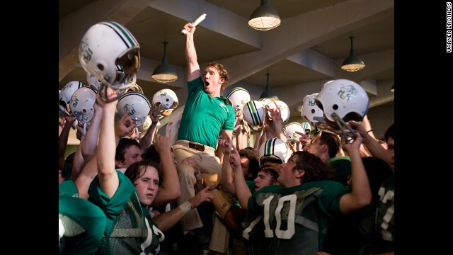 "McConaughey is a triumphant coach in 2006's ""We Are Marshall."""