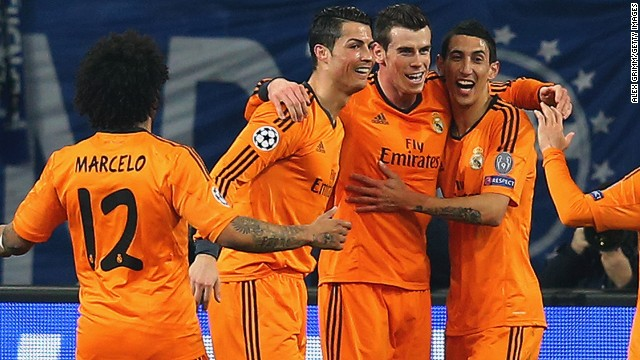 Real Madrid's dream team? Cristiano Ronaldo and Gareth Bale (both center) celebrate success in Germany.
