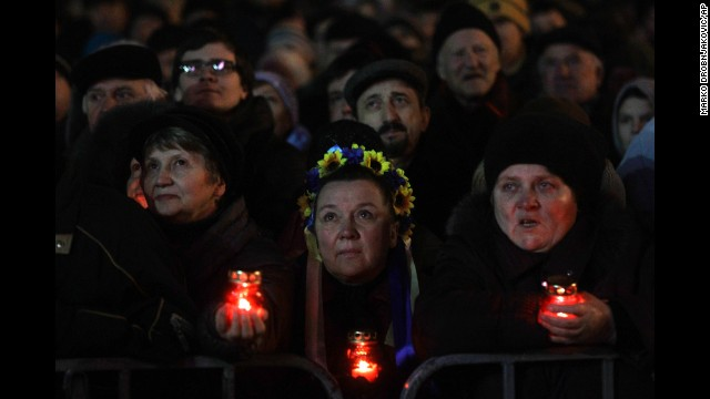 Protesters in support of the president's ouster rally in Kiev's Independence Square, which has been the center of opposition, on Wednesday, February 26.