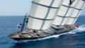 The Maltese Falcon makes a swift turn while at sea.