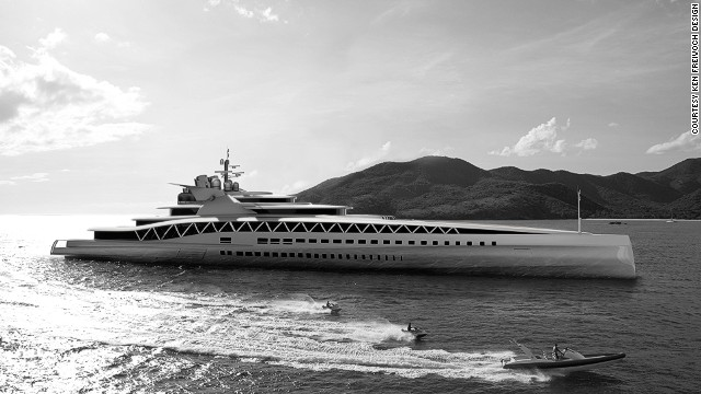 A computer-generated image of the Fortissimo yacht, the exterior of which was designed by Freivokh's company.