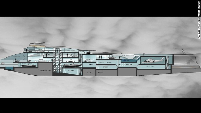 The blueprints of a 100-meter superyacht by Ken Freivokh Designs, including helicopter garage, saloon and swimming pool. New entrants to the market from resource rich and fast developing nations are often keen on these facilities as opposed to specialized sailing technology, Freivokh said.